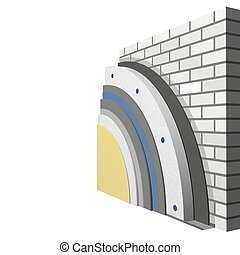 Polystyrene wall insulation 3d scheme - 3D layered scheme of...