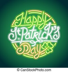 St Patricks Day Glowing Neon Sign Used pattern brushes...