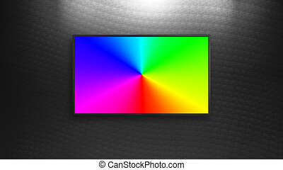 RGB colorful led TV display with black wall