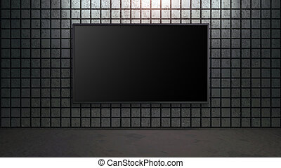 blank wide screen TV with square brick wall in room - blank...
