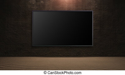 led television on dark rock wall background - blank wide...