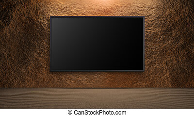 led television on rock wall background turn off - blank wide...