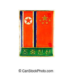 icon of friendship between North Korea and China isolated on...