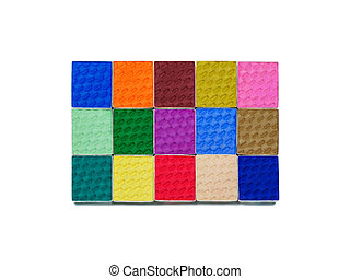 eye shadows - Top view of colorful eye shadows set isolated...