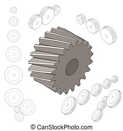Set of gear wheels in black and white. By changing size, gears can be combined into mechanism. isometric style