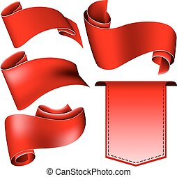 Red ribbon set - Collection of 5 red ribbon Vector...