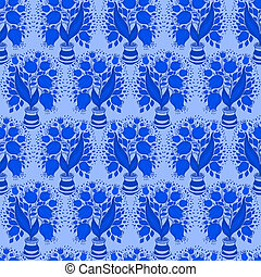 Seamless pattern with stylize silhouettes of tulips in a pot. Good for wallpaper and textile
