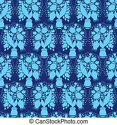 Seamless pattern with stylize silhouettes of tulips in a pot. Go