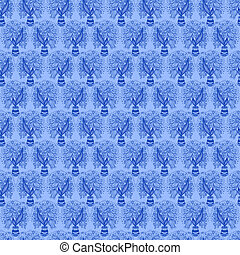 Seamless pattern with stylize silhouettes of tulips in a pot.