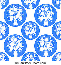 Seamless pattern with stylize silhouettes of tulips in a pot. Circule form like bubble. Good for wallpaper and textile