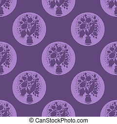 Seamless pattern with stylize silhouettes of tulips in a pot. Fo