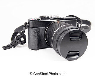 digital mirrorless camera with zoom lense isolated on white background