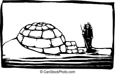 Igloo in the northern ice with Inuit.