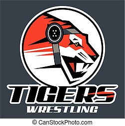 tigers wrestling team design with mascot for school, college...