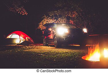 Camping Adventure Tent Camping in the Deep Forest Modern...