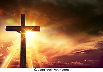 Crucifix Blessing Lights Background. Large Wooden Crucifix...