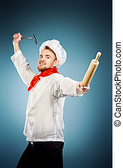 enraged chef cook - Enraged chef cook brandishing with ladle...