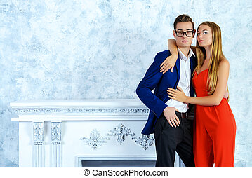 glamorous people - Gorgeous couple of young people stand in...