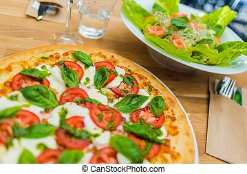 Margarita Pizza Time Tasty Italian Lunch Fresh Tomato and...