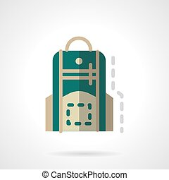 Green knapsack flat color design vector icon - Green school...