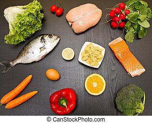 diet food on wood background