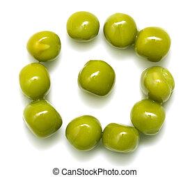 green peas on a white background macro
