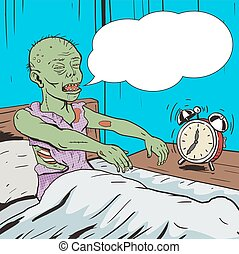 Zombie waking up in the morning pop art vector