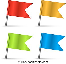 Color pin flags set vector template isolated on white...