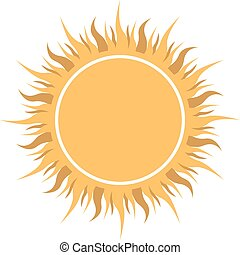 Abstract yellow sun shaped label vector illustration.