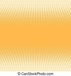 Orange and yellow 3D perspective halftone vector background.