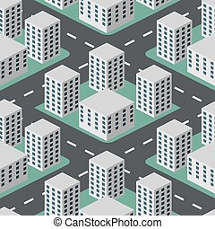 Seamless abstract flat 3D city vector background.