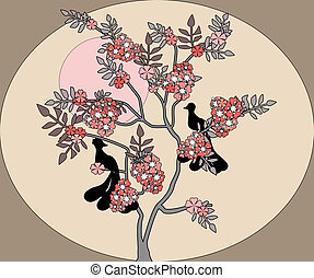 Illustration sakura blossoms and birds silhouette print