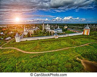 Colorful sunset over Spaso-Prilutsky monastery in Vologda...
