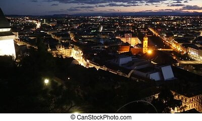 Graz City Night Panorama (Austria). - Graz city night top...