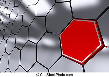 The Red Octagon Spot Abstract 3D Render Illustration....