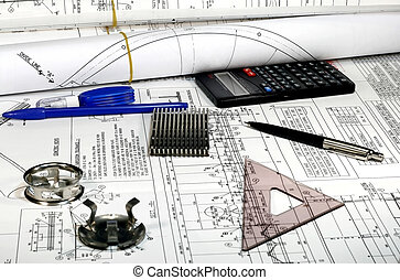 Mechanical Engineering drawings with parts pen triangle and...