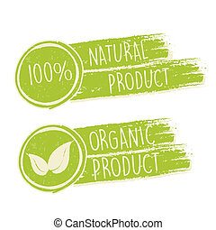 100 percent natural and eco friendly with leaf sign in green drawn banners