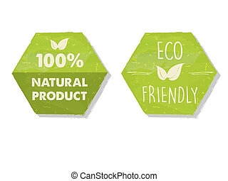 100 percent natural and eco friendly with leaf sign in green hexagons labels