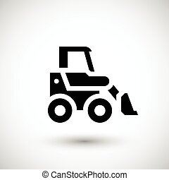 Mini earth mover icon isolated on grey Vector illustration