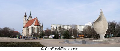 Magdeburg - Panorama of the city of Magdeburg on the banks...