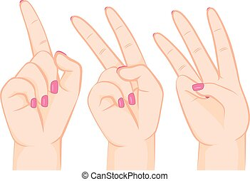 Fingers Counting Numbers - Illustration of female hands...