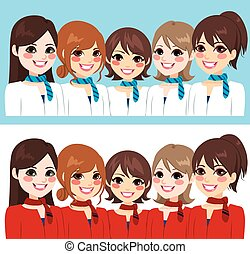 Stewardess Women Team - Beautiful stewardess women team...