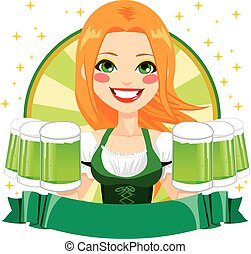 Saint Patrick Waitress Green Banner