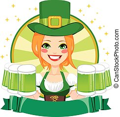 Leprechaun Girl Waitress Banner - Pretty Saint Patrick girl...