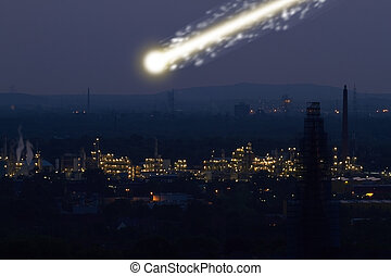meteorite - A large bright meteorite is dragging a long...