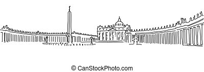 Hand drawn Saint Peter Square and Saint Peter Basilica....