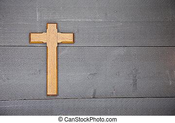 hölzern, Ostern, Schwarz, Kreuz, hintergrund