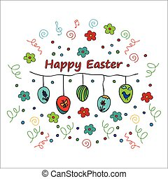 Happy easter doodle card - Easter traditional symbols card...