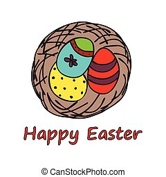 Happy easter doodle card - Easter traditional card with nest...
