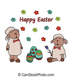 Easter traditional symbols card with nest of eggs - Easter...